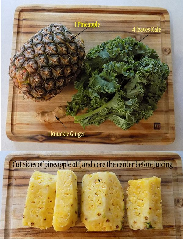 A great tasting sweet anti-inflammation juice #'recipe with a ginger kick. The kale is virtually invisible in this one, but adds to the overall inflammation benefits.  healthy #detox