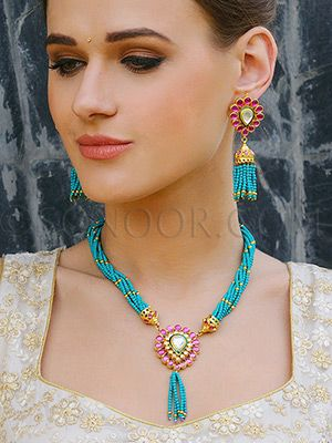 PEN/1/3502 Hetvi Pendant Set with Earrings in gold finish studded with kundan and agate stones