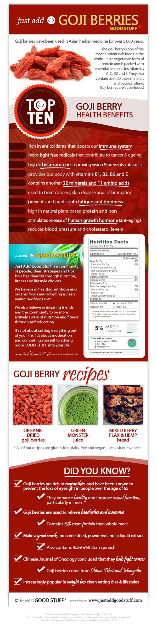 #Goji berry #infographic outlining the top 10 #health benefits of goji berries, interesting facts and nutritional value > More online at http://www.justaddgoodstuff.com/goji-berry-infographic/