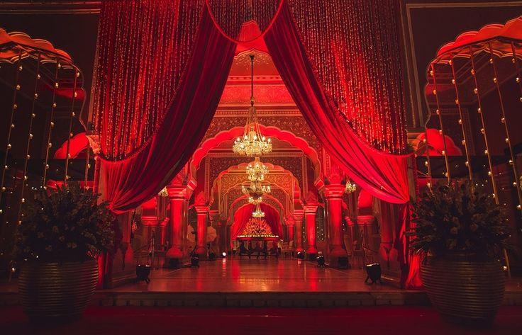 red theme drape style wedding entrance decor