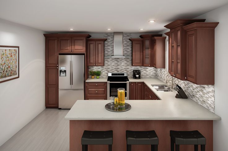 Warm and inviting. Our raised panel, solid birch in Wild Cherry is just that. Langdale cabinets paired with a light countertop looks great