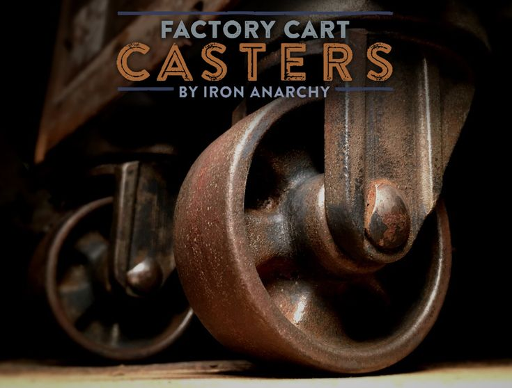 Art Deco industrial casters with thick cast iron wheels, forks and mounting plates. Refurbished for your Industrial Chic furniture project by IronAnarchy.com