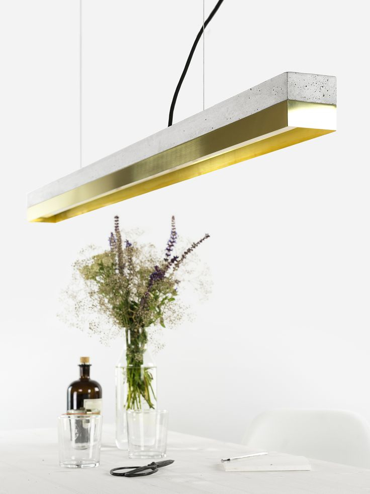 The Rectangular Pendant Lamp [C1] Brass Merges Light Grey Concrete With  Brass, Resulting