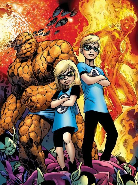 Fantastic Four - The Thing, The Human Torch, Franklin and Valeria Richards
