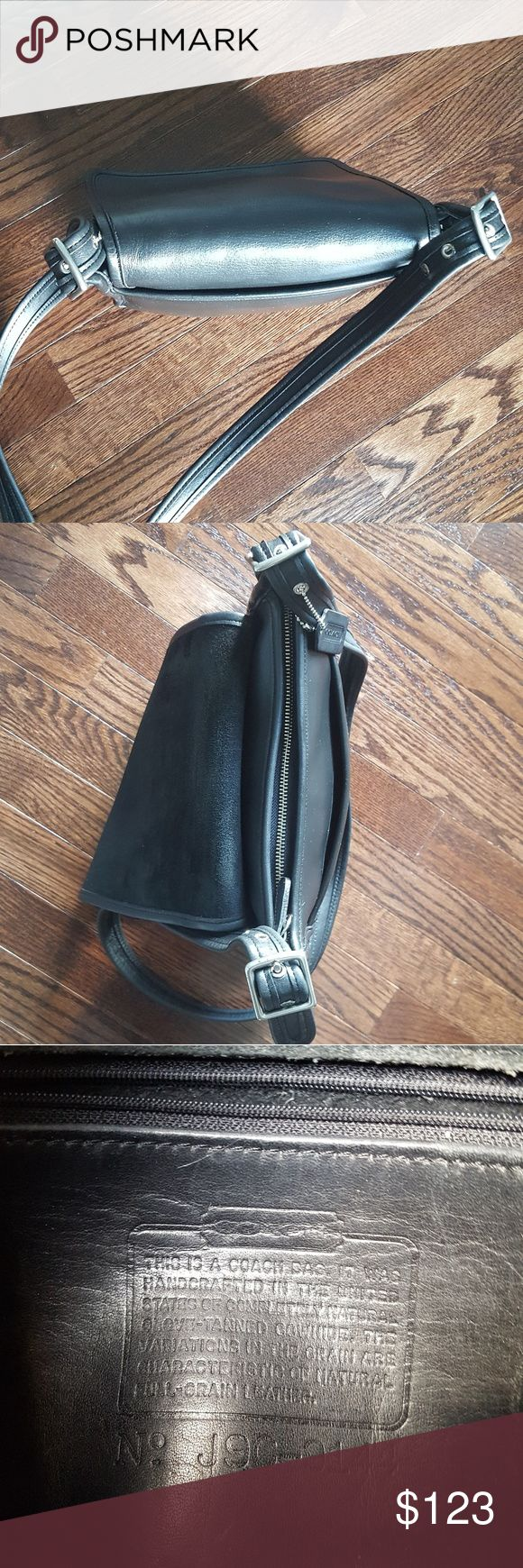 """Vintage Coach Black Leather Saddle bag crossbody Unisex  black cowhide front flap Cross Body Bag  Measurements:  10""""L x 10.5""""H x 3""""W  Black Leather  Coach Vintage Front Flap crossgody bag -9144 Made USA (SILVER)  Leather is in perfect condition  Inside lining is suede like leather  black,?cross body,?vintage,?Coach Cross Body Bags Coach Bags Messenger Bags"""
