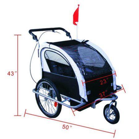Aosom Elite II 3in1 Double Child Bike Trailer, Stroller & Jogger - Black / White - Walmart.com