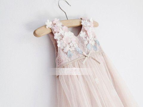 Giselle Flower Dress - Loved by Chloe- Dusk Pink Dress- Spring Wedding Flower Girl Dress