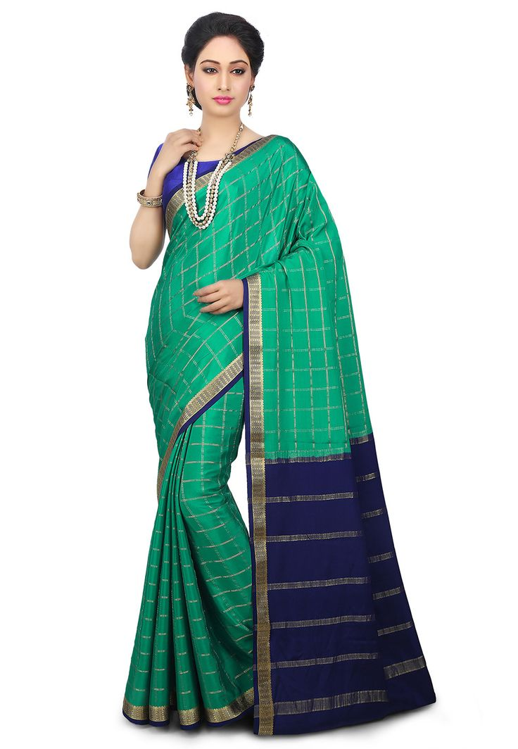 Pure Mysore Silk Saree in Teal Green : SHU576