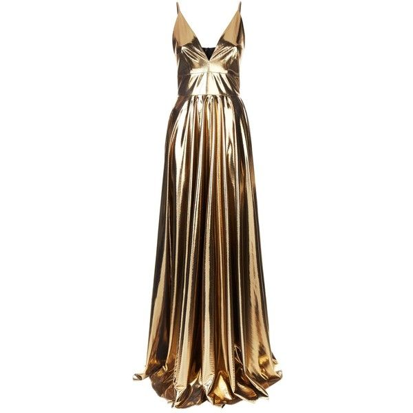 La Mania Gold Cami Gown ($1,445) ❤ liked on Polyvore featuring dresses, gowns, empire waist evening dresses, brown gown, gold metallic dress, gold dresses and gold gown