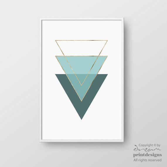 Scandinavian Print, Scandinavian Poster, Printable Art, Teal Gold Triangle Art, Geometric Print, Minimalist Print, Modern Printable Wall Art