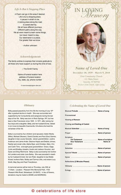 alexandria printable funeral program template grandma s day