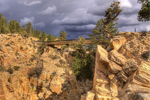Hells Backbone Bridge near Boulder, Utah. Photos do not do this unique spot justice.  Breathtaking.