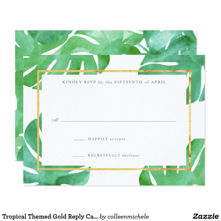 Tropical Themed Gold Reply Cards Tropical Themed Gold Reply Cards, part of our tropical pineapple wedding stationery collection. Featuring watercolor tropical leaves in the background with faux gold foil accents.