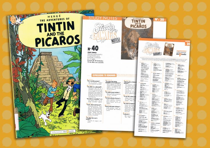 I was happily surprised to find these: This is just one of the 22 Tintin comics (French: Les Aventures de Tintin) that belongs to an especial collection. Back in 1988, Ediciones del Prado created a compilation of comics in English that was accompanied by some extra material to work with the texts and these resources are what makes them so collectable (especially as a MFL teacher).