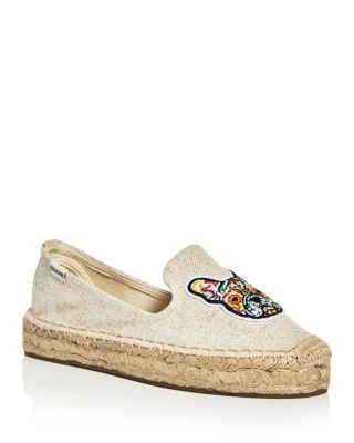 Soludos Frenchie Embroidered Smoking Slipper Platform Espadrille Flats | Bloomingdale's