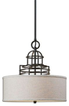 Cupola 3 Light Drum Shade Light Fixture - transitional - Pendant Lighting - Pizzazz! Home Decor, LLC