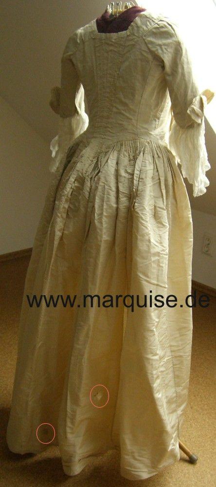 Robe à l'Anglaise taffetà di seta color crema, Dal originale Tardo 18 ° Secolo