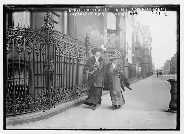 Ethel Roosevelt and Cornelia Landon on street, New York City