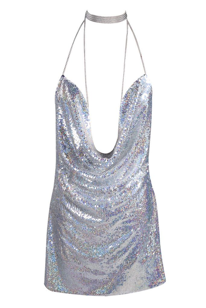 Honey Couture - Kendall Silver Sequin Low Back Sequin Dress