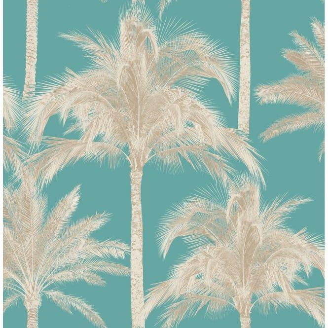 Fine Decor  Miami Palm Tree Wallpaper Teal (FD40906)