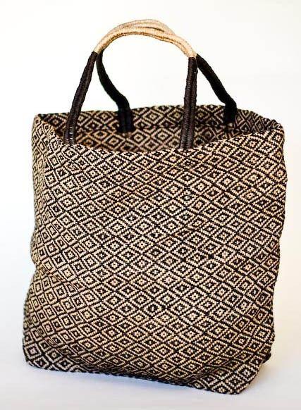Big enough for stuff - Large Jute Shopper Tote (Black Diamond) $39