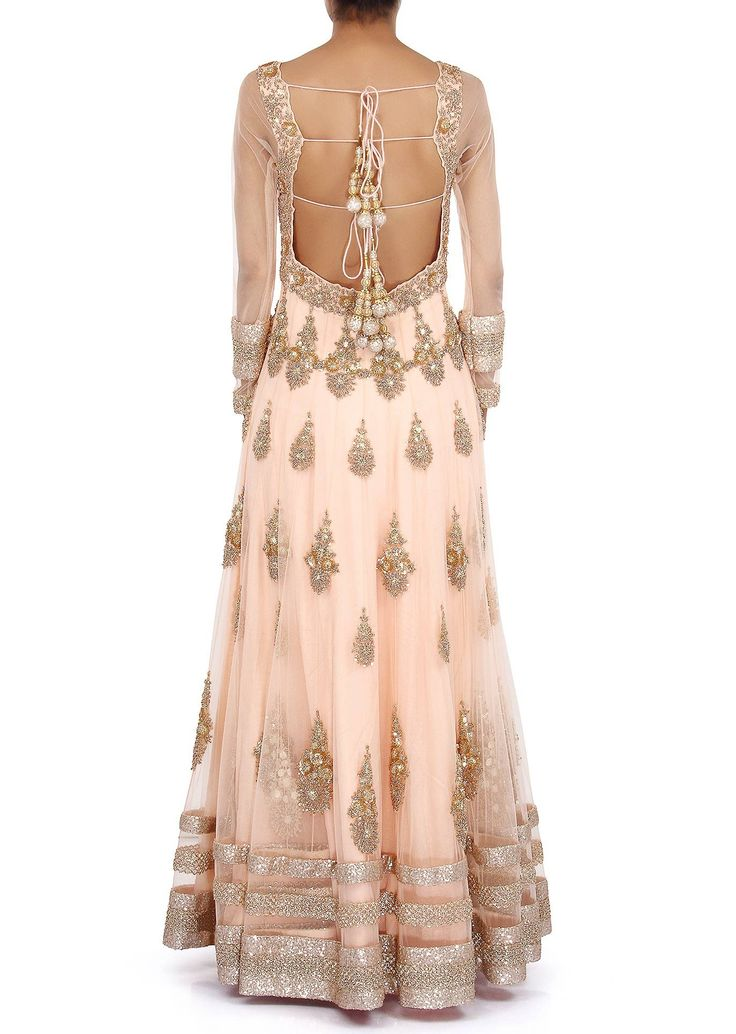 Peach anarkali suit embellished in zardosi embroidered butti only on Kalki - Kalkifashion.com