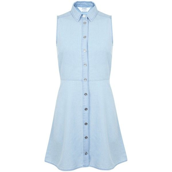 Miss Selfridge Petite Chambrey Shirt Dress ($19) ❤ liked on Polyvore featuring dresses, vestidos, short dresses, pastel blue, petite, sale, sleeveless shirt dress, blue sleeveless dress, blue mini dress and shirt dress