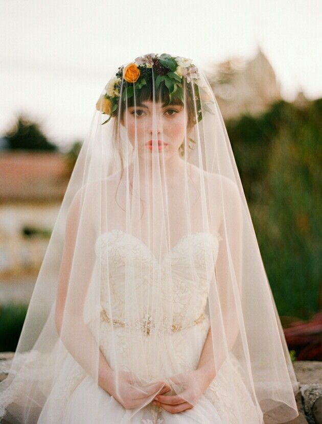 Drop Veil Worn Over Fresh Floral Bridal Crown
