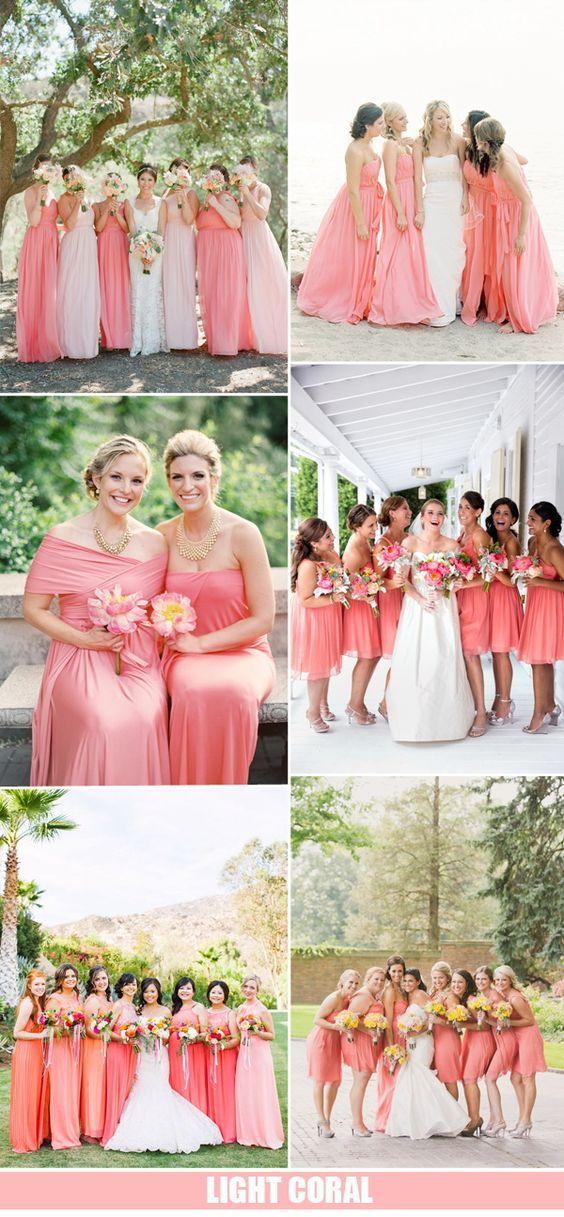 ideas de color de la boda de coral luz y vestidos de dama de honor 2016
