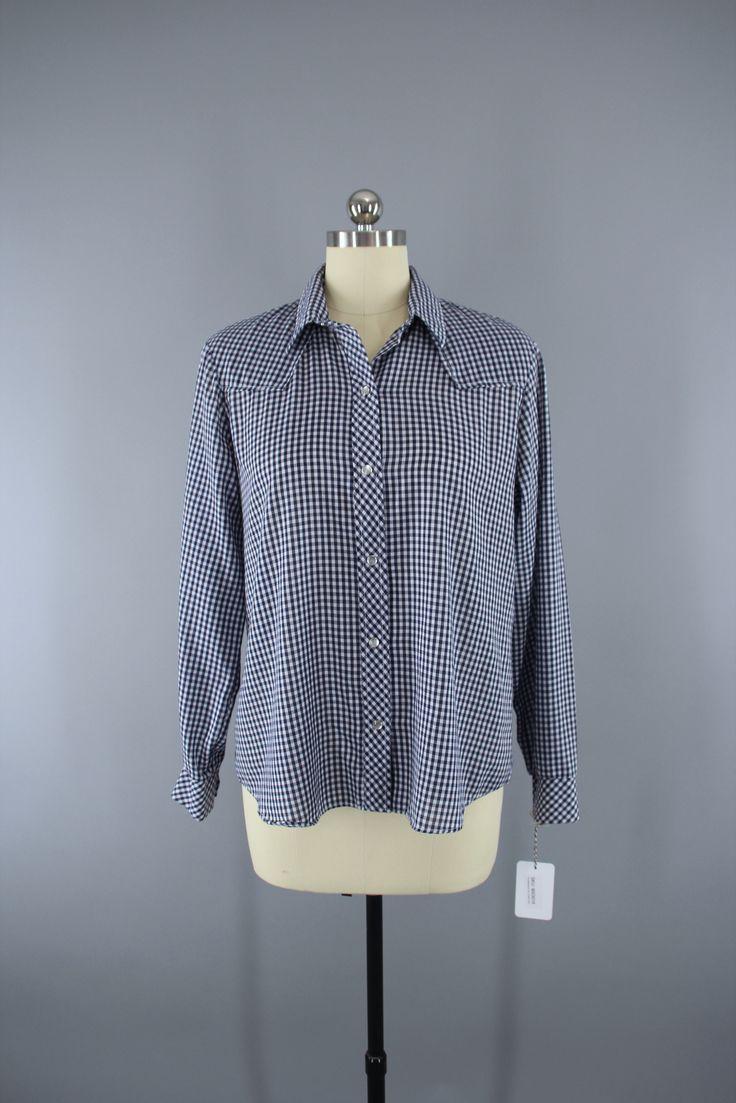 Vintage 1970s Western Shirt / Navy Blue Gingham  #vintage #shopvintage