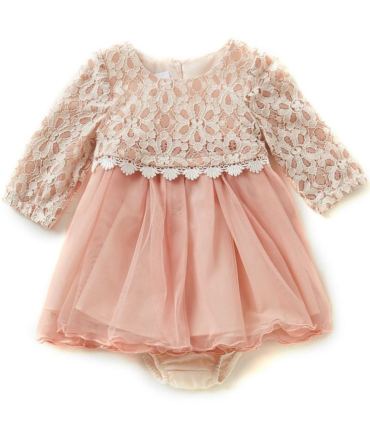 Bonnie Baby Girls Newborn-24 Months Lace Popover to Tulle Dress