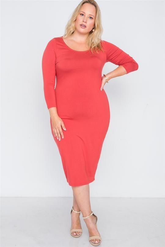 0573500db76a Plus Size Basic Bodycon Midi Dress in 2019 | Mesh sleeves | Dresses ...