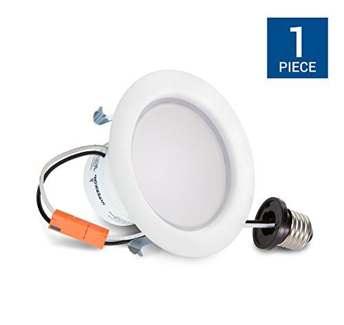 "Hyperikon 4 Inch LED Downlight, Dimmable, 9W (65W Equivalent), Retrofit LED Recessed Fixture, 2700K (Warm White), CRI94, ENERGY STAR Slim Ceiling Light - Great for Bathroom, Kitchen, Office - Hyperikon's 4"" LED Downlight is a perfect flush mount solution for recessed lighting cans using incandescent or fluorescent bulbs. These LED recess lights fit 4-inch ceiling cans perfectly and cut energy usage by up to 87% by replacing 65W with 9W. These light fixtures are dimmable from 100%-20% ..."