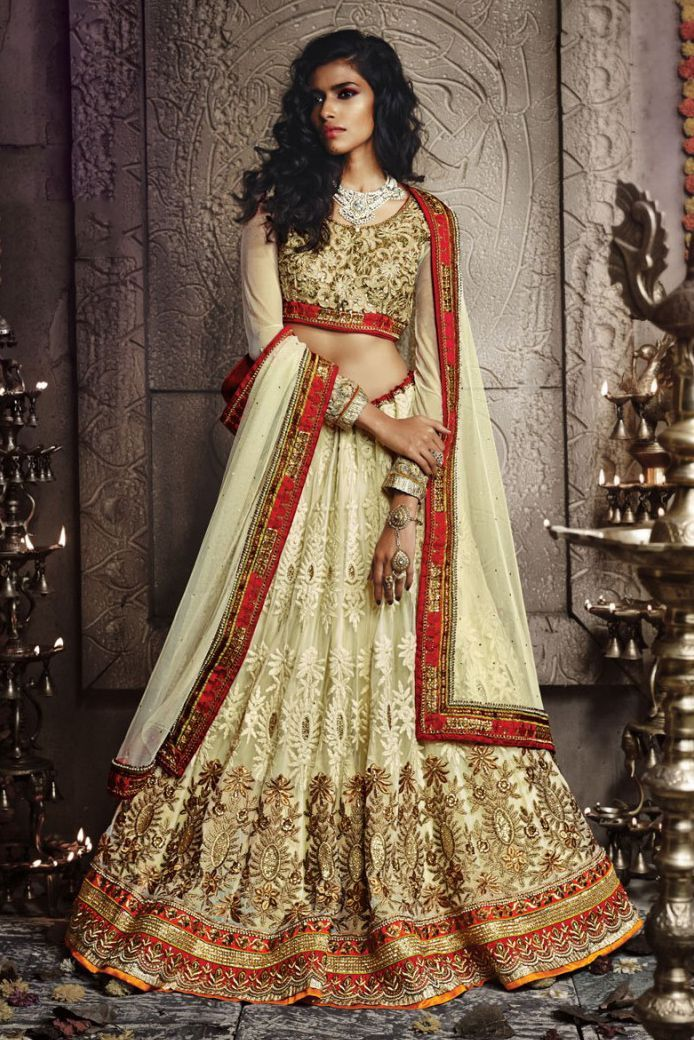 Beige Colour Georgette Fabric Party Wear Lehenga Choli Comes with matching blouse. This Lehenga Choli Is crafted with Embroidery This Lehenga Choli Comes with Unstitched Blouse Which Can Be Stitched U...