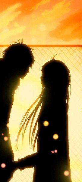Cute anime couple sunset: