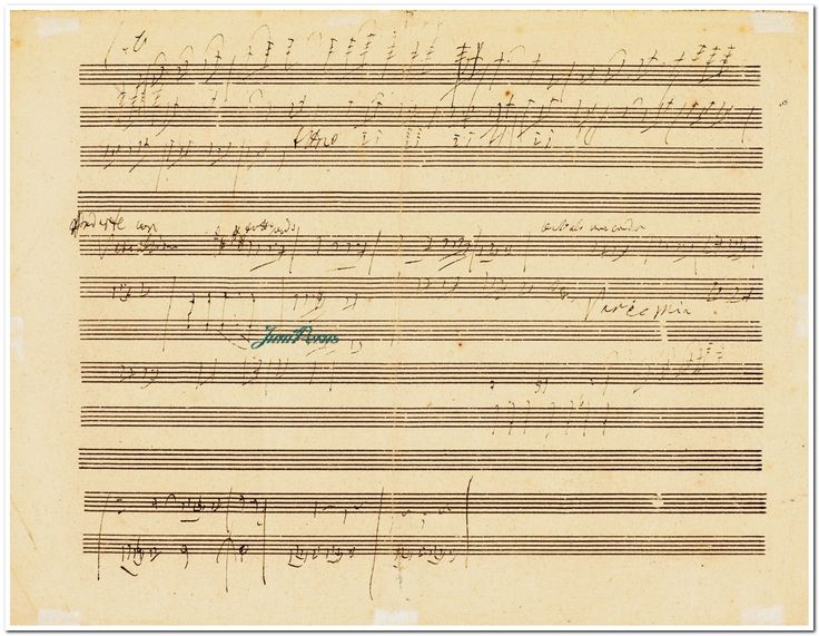 "Beethoven, Ludwig van AUTOGRAPH SKETCHLEAF FOR THE PIANO CONCERTO NO. 5, IN E FLAT MAJOR (""EMPEROR""), OP.73, CONTAINING EARLY IDEAS FOR ALL THREE MOVEMENTS 2 pages, oblong 4to (23.5 x 31cm), untrimmed, 12-stave machine-ruled paper [paper-type 21 in Johnson, Tyson and Winter, The Beethoven Sketchbooks (Oxford, 1985), p.550], the sketches notated in brown ink mostly on single staves, with a later pencil annotation to the lower margin of recto, possibly in the hand of the pianist Louis…"