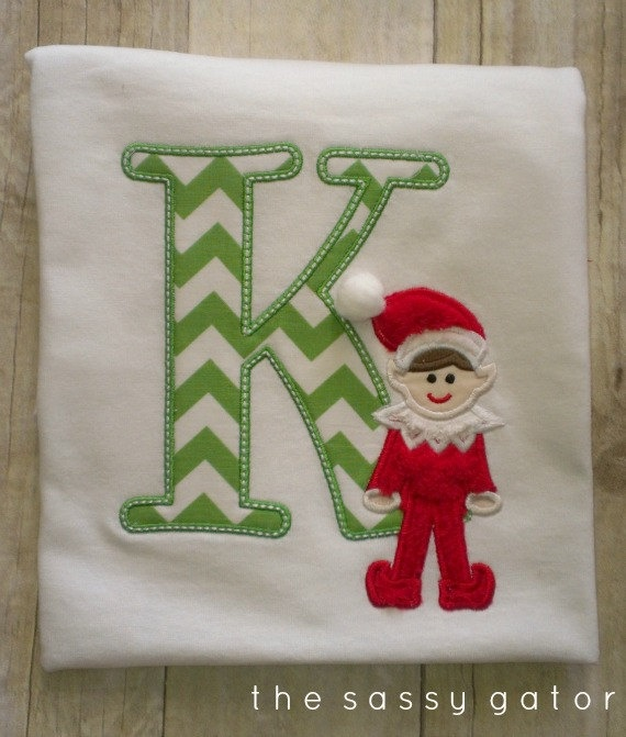 Personalized ELF on a Letter Christmas Applique T-Shirt. $22.99, via Etsy.