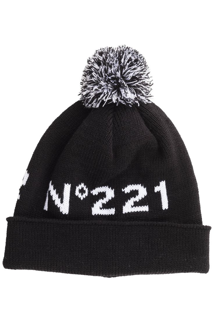 "DOMINO Unisex knit beanie with pompom and ""N°221"" jaquard."