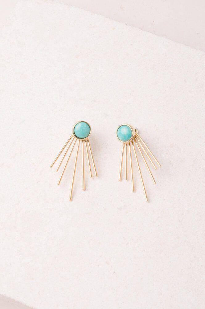 63815d042 Josephine; Turquoise Stud Fringe Earrings in 2019 | Jewelry | Fringe ...