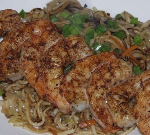 wild prawn grilled with Asian-ish rub with yakisoba and a root beer ale.: Prawn Grilled, Wild Prawn, Roots Beer, Asian Ish Rubbed, Beer Ales