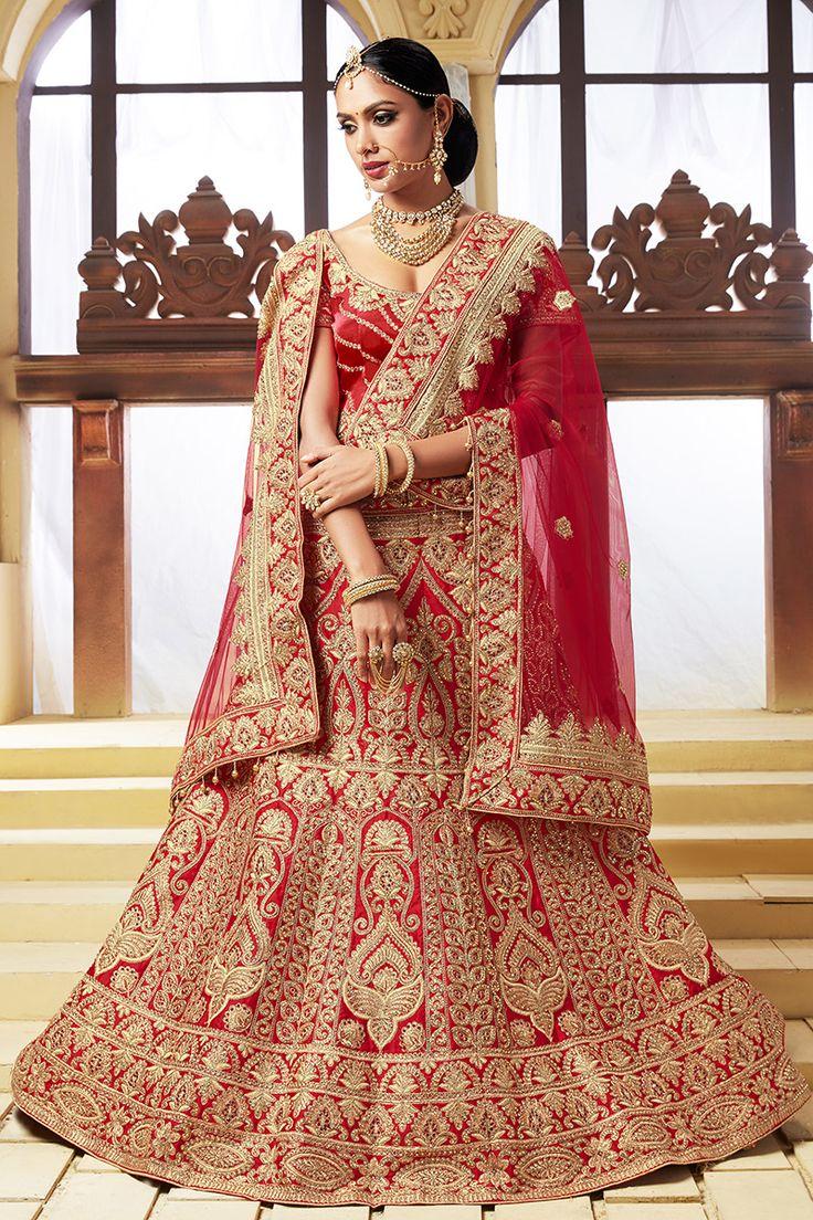 Beautiful Red Color Season 1 Silk Fabric Lehenga Bridal