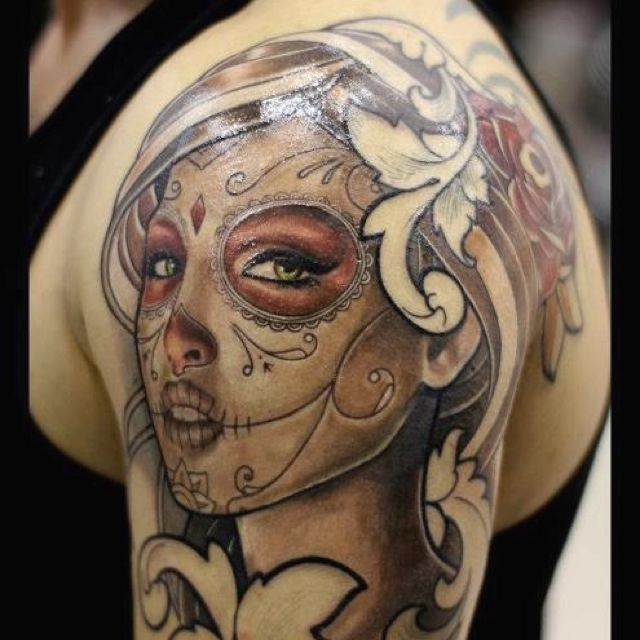Beautiful Day of the Dead tattoo