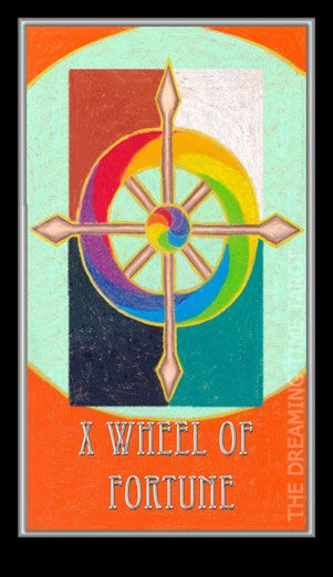Wheel of Fortune. Number – 10. Wheel of Dharma. Changes. Good fortune. Dreaming Time Tarot