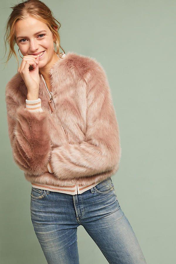 Slide View: 3: Mother The Letterman Faux Fur Jacket