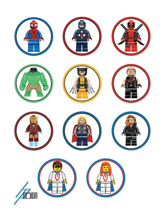 Lego Marvel Superheroes 2 Circle Tags / Cupcake by HPDsign, $10.00