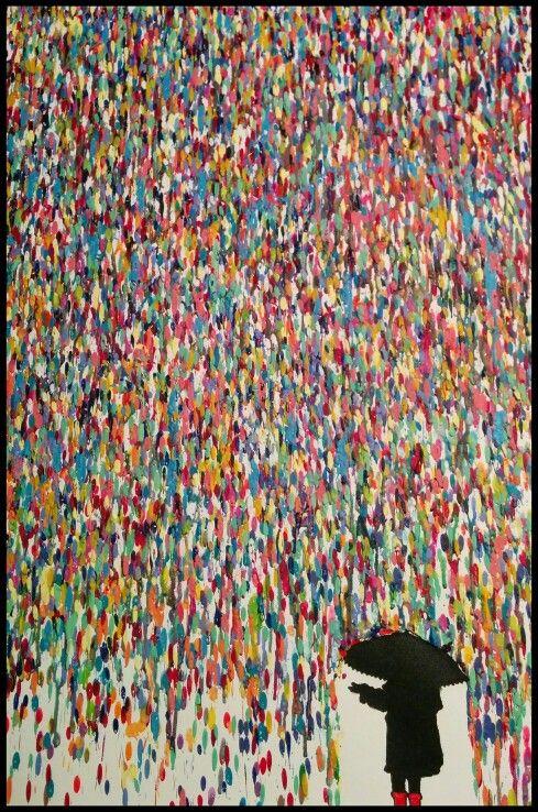 Crayon Art  #MeltedWax #UmbrellaLove #Rainboots #WaxDIY #CrayonDIY #CrayonArt