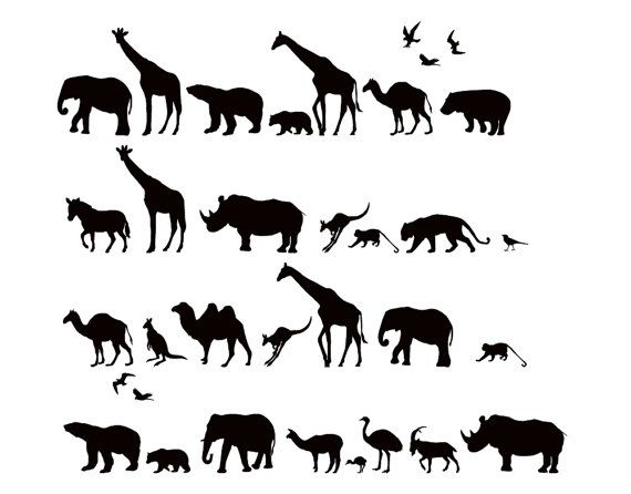 Safari Animals Wall Decal Africa Vinyl Wall Art By WallStickums Part 68