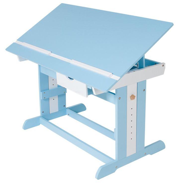 TecTake Bureau enfant hauteur réglable plateau de table inclinable 109 x 55 cm en bois - bleu: Amazon.fr: Cuisine & Maison