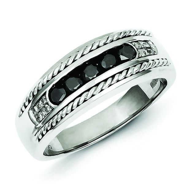 Sterling Silver Black And White Diamond Mens Ring