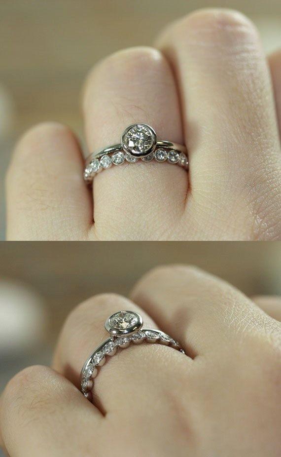 Bridal Set Diamond Engagement Ring Bezel Set Diamond Eternity Band ...